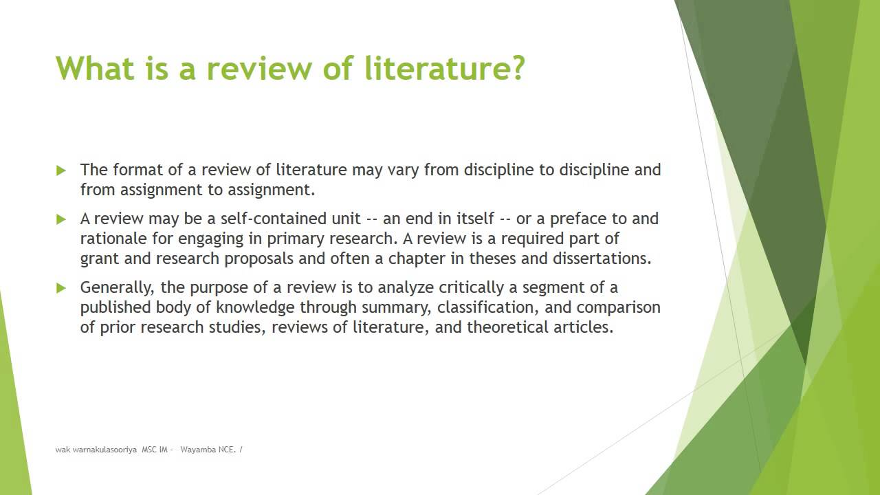 Research Literature Review Sample
