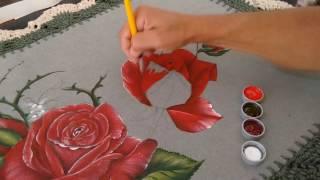 Pintura Rosas em tecido emborrachado Parte 3 de 3