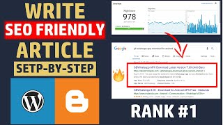 How to Write SEO FRIENDLY ARTICLE in 2019 on Blogger/Wordpress