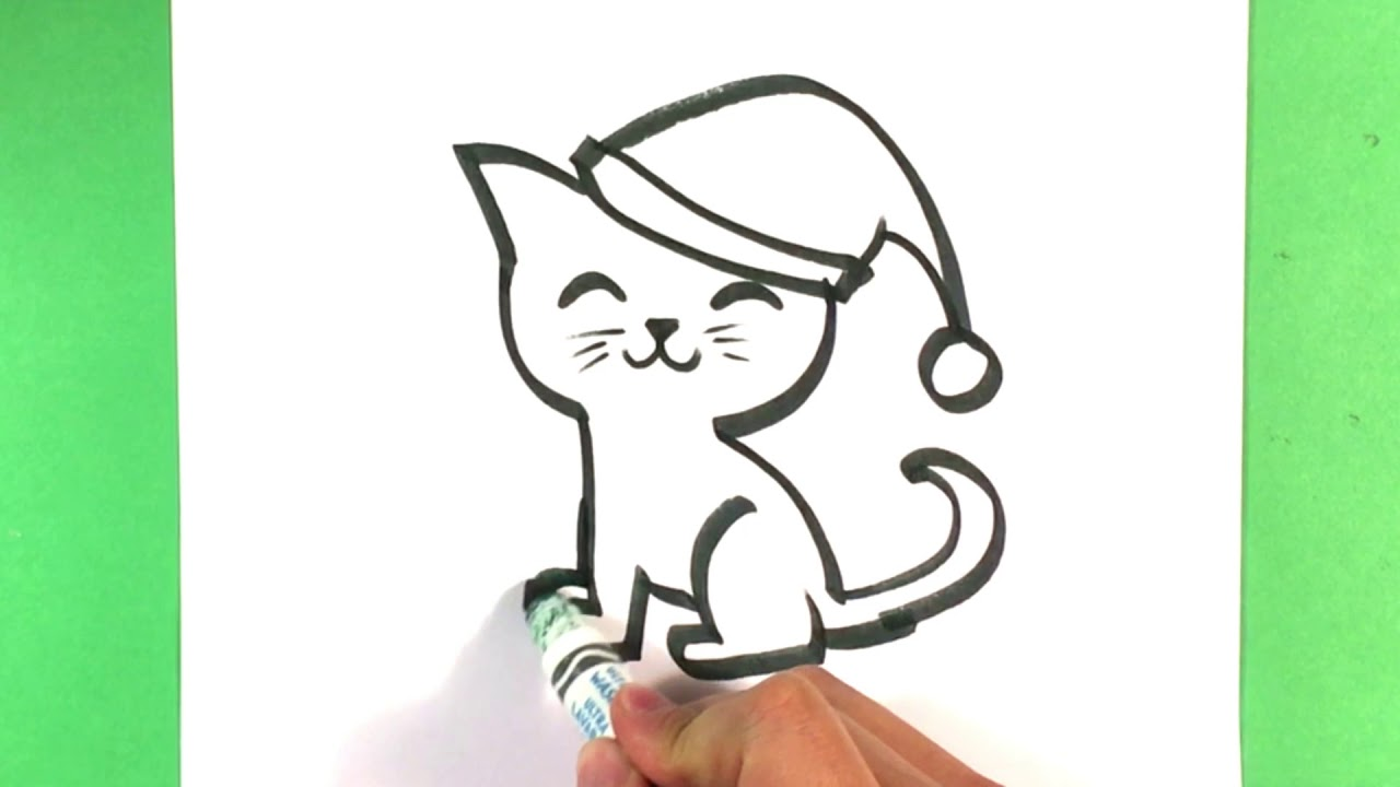 How to Draw a Cute Cat - Christmas Drawings - Step by Step ...