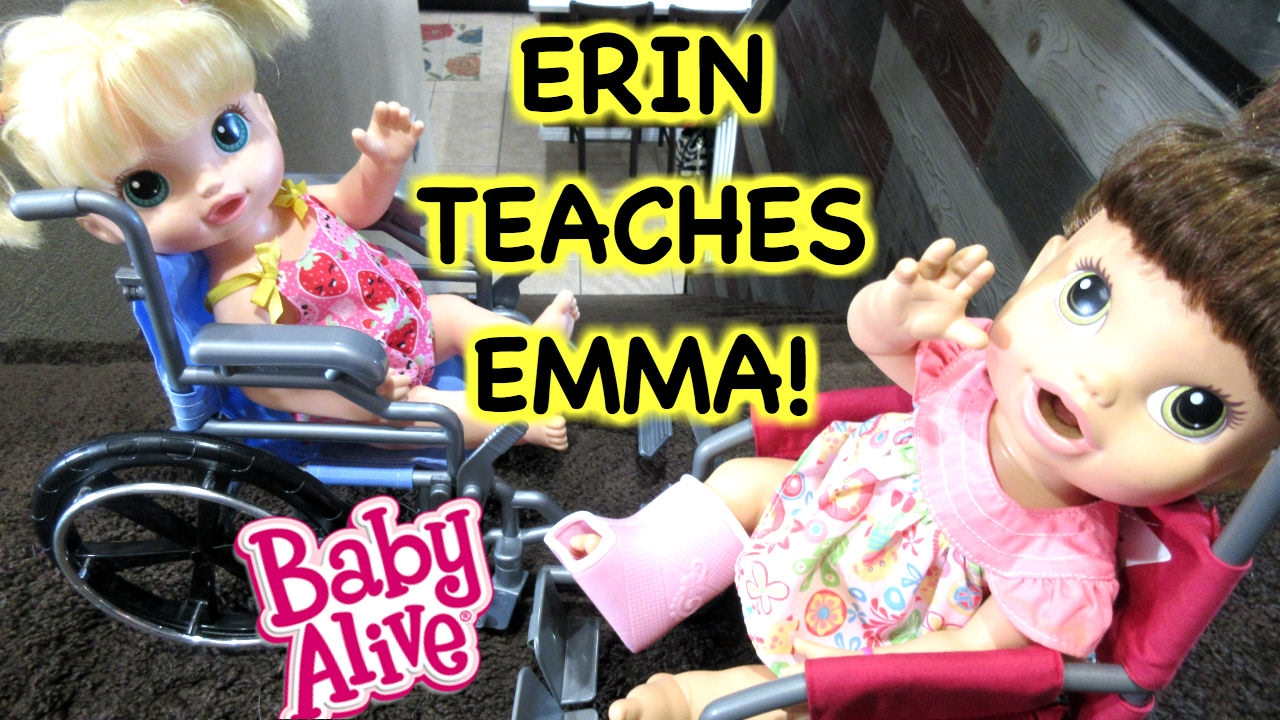 Baby Alive Erin Shows Emma How To Use A Wheelchair Youtube