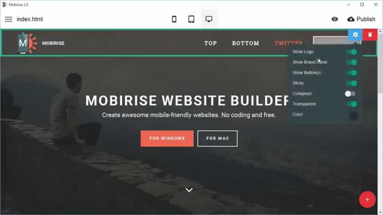 New Menu Block - Mobirise Website Maker Software v2.0 - YouTube
