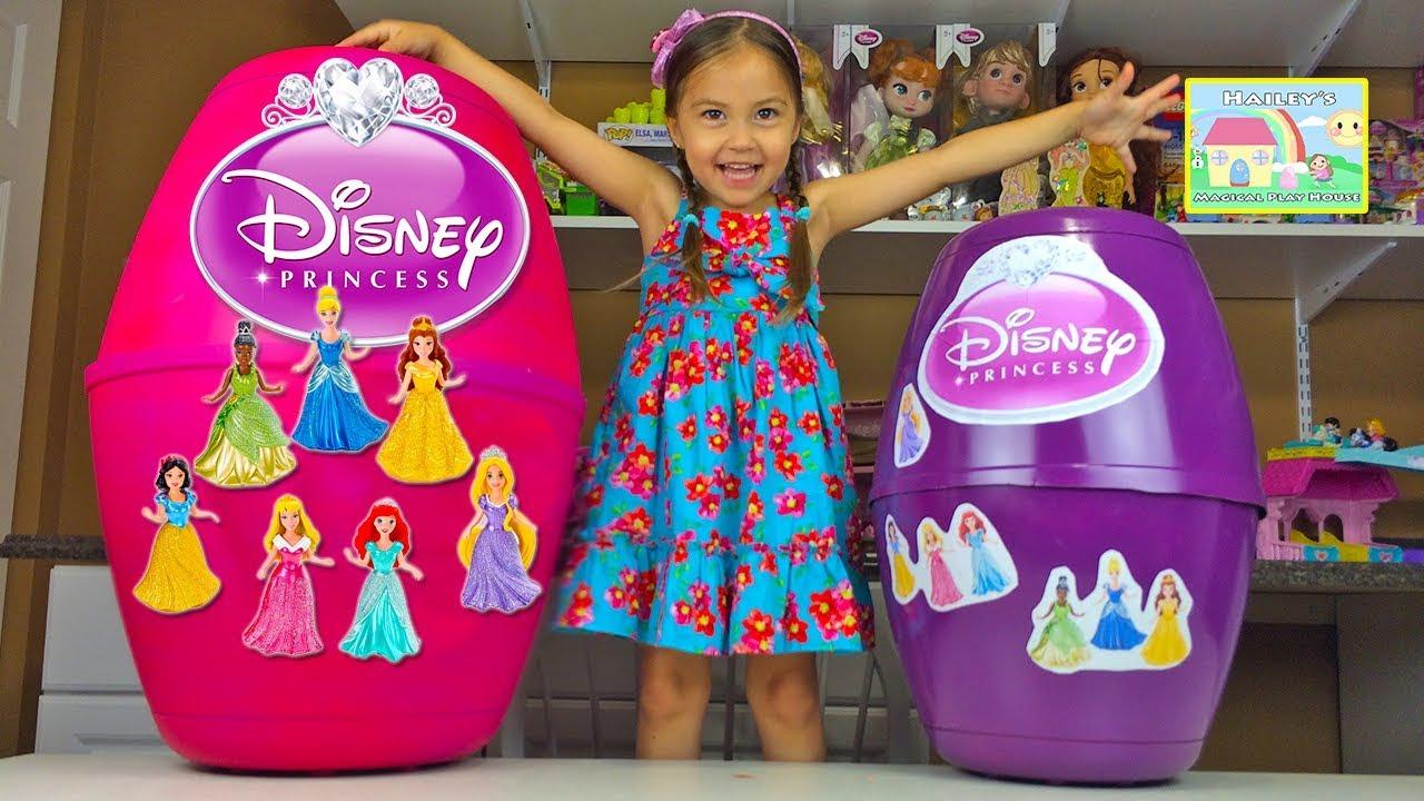 Huge Disney Princess Surprise Eggs W Magiclip Dolls Play Doh Toys