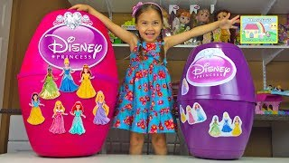 MEGA HUGE DISNEY PRINCESS SURPRISE EGGS WORLDS BIGGEST TOY OPENING MagiClip Play-Doh Kid-Friendly