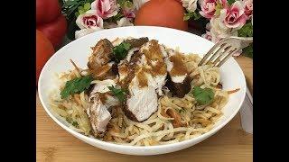Chicken Lo Mein Noodles - Вкусная лапша с курицей по-китайски. Быстро, легко и просто!