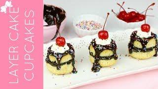 Mini Layer Cake Cupcakes // Lindsay Ann Bakes