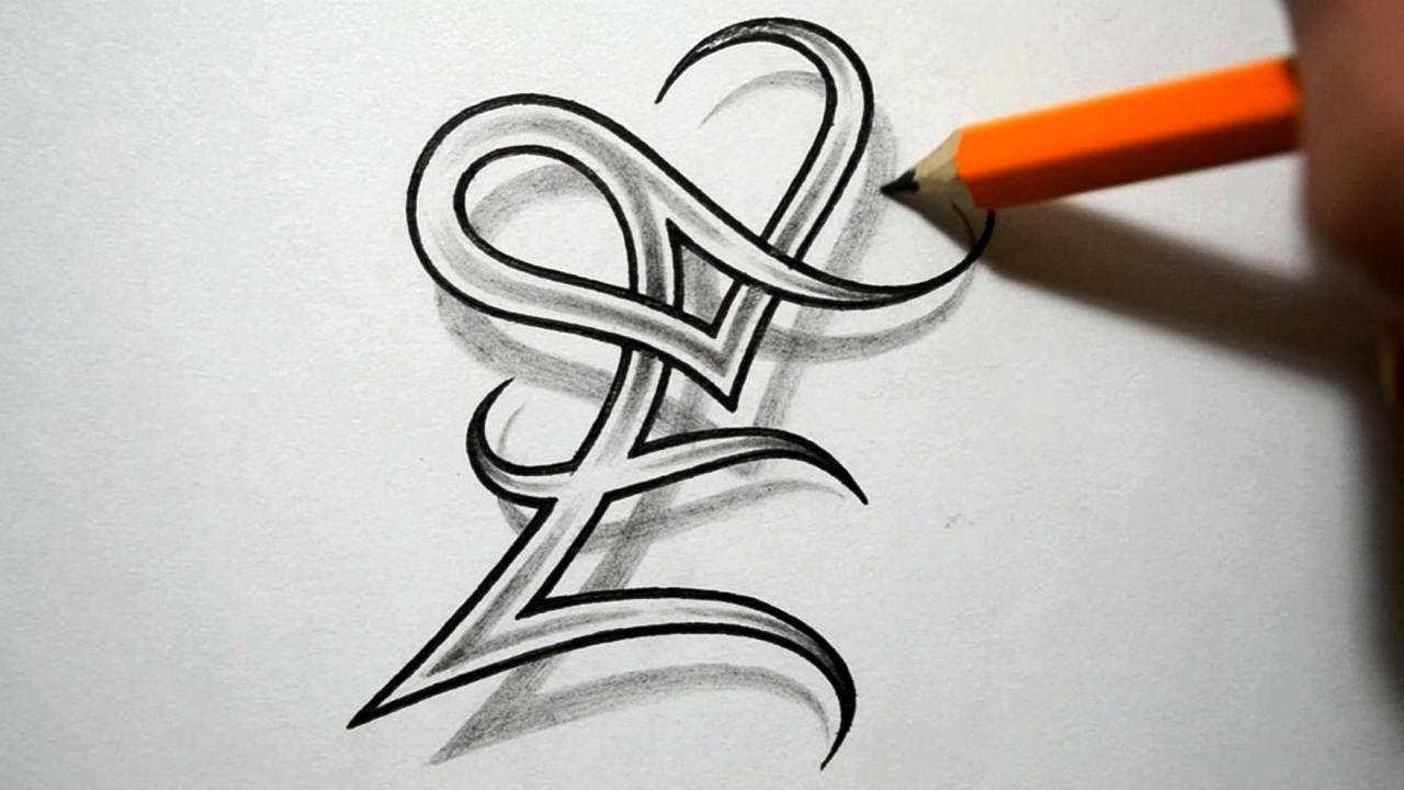 Initial E And Heart Combined Together Celtic Weave Style Letter