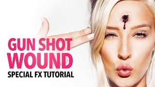 Gun shot wound halloween makeup tutorial