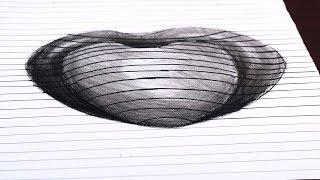 How to Draw a 3D Hole Heart Shape   Trick Art on Line Paper   3D Heart on Line Paper Step By Step