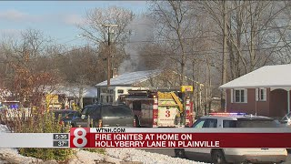 Crews battle house fire in Plainville