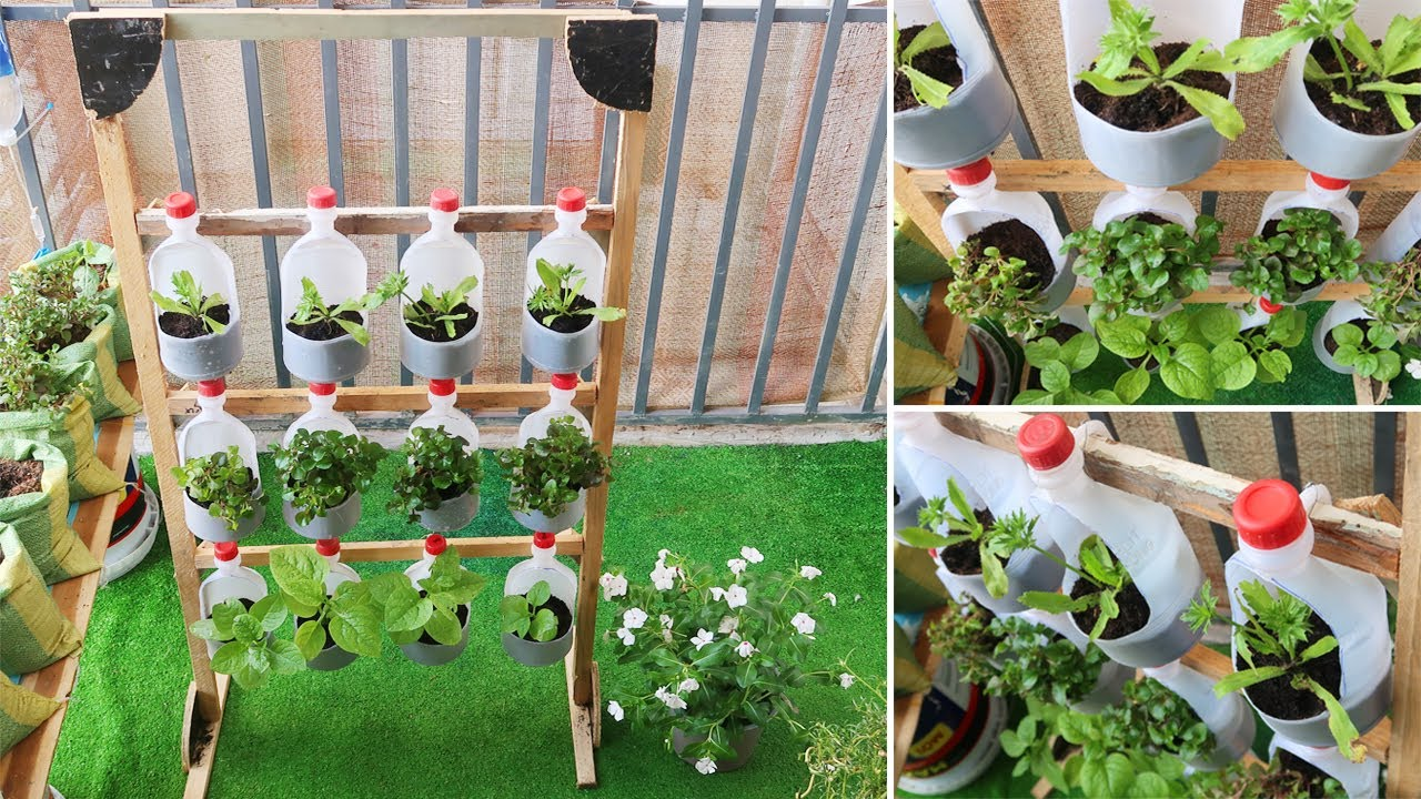 Amazing Vertical Garden Diy Vertical Vegetable Garden From Plastic Bottles For Balcony Youtube
