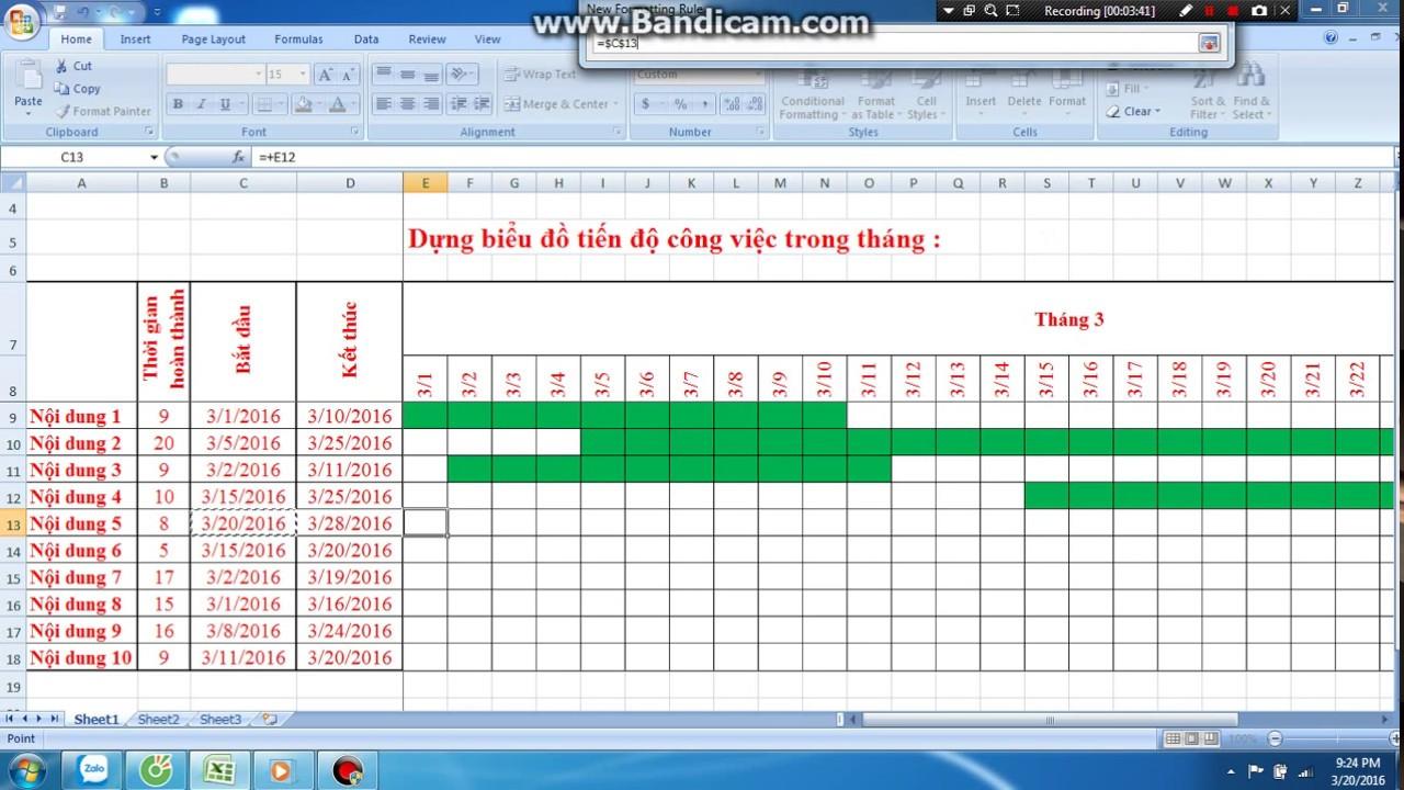 Lập bảng tiến độ trên Excel
