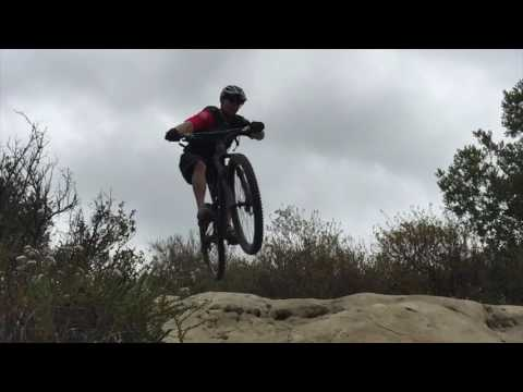 Drone footage of Mountain Biker on Lynx Trail in Aliso Canyon