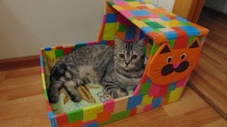 Дом для кота (своими руками)(своими руками можно сделать очень яркий и красивый домик для любимого питомца.Из простых материалов ,карто..., 2016-02-21T21:17:45.000Z)