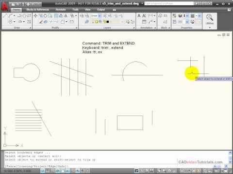 AutoCAD Tutorial - Using TRIM and EXTEND