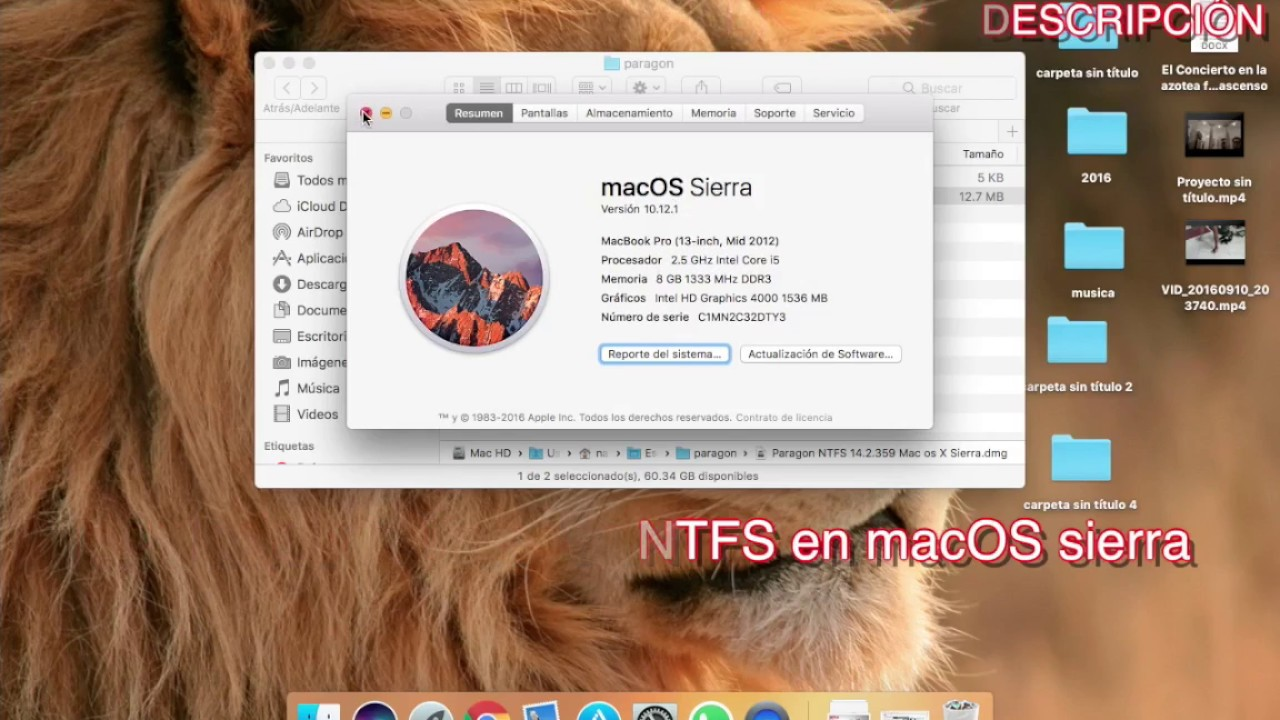 Paragon NTFS Español |macOS Sierra El Capitan Yosemite| ntfs y fat de  windows en mac