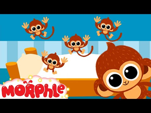 5 little Monkeys jumping on the bed nursery rhyme  -- Morphle's Nursery Rhymes