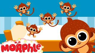5 little Monkeys jumping on the bed nursery rhyme  -- Morphle