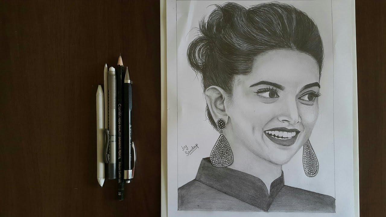 Realistic pencil sketch deepika padukone