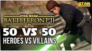 50 KILL Heroes Vs Villains Luke Skywalker Gameplay | Star Wars Battlefront 2 Gameplay