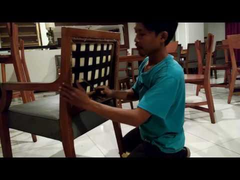 Cara service kursi jati ful dari awal sampai finising,buka kain lama tukang cat panggiln