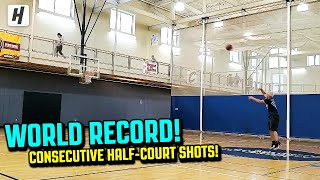 Basketball WORLD RECORD Consecutive Shots Made From Half-Court!