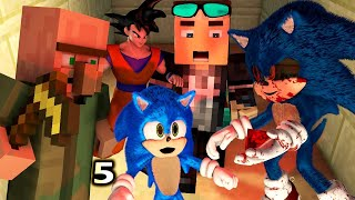 SONIC THE HEDGEHOG MOVIE IN MINECRAFT 5! Ft. Goku & Villagers (Official) Minecraft Animation Game