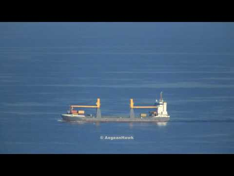 General Cargo Trent Navigator carrying Weapons and Ammo sailing southbound the Aegean Sea.