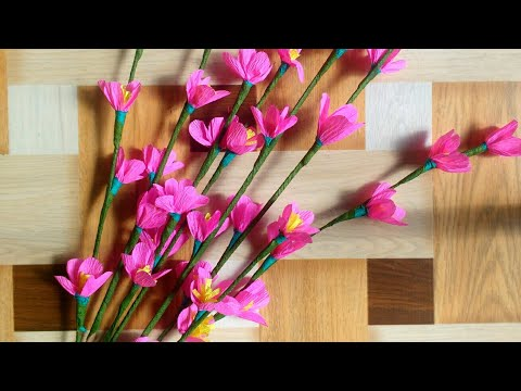 How To Make Cherry Blossom Flowers At Home | Crape Paper | Home Decor | DIY | By Punekar Sneha.