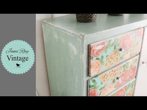 How to Decoupage  Farmhouse Napkin Dresser