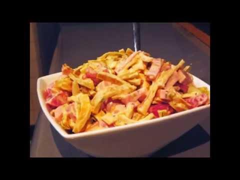 Салат из ветчины с сыром и ананасами рецепт салаты