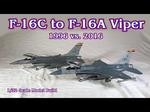 Building the Revell 1/32 scale F-16 Fighting Falcon Fighter Jet model 1996 vs. 2016