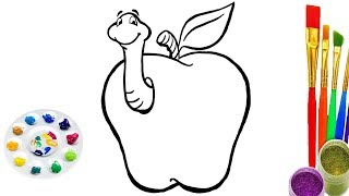 How To Draw Apple Coloring Pages Learning for kids and baby | draw apple easy