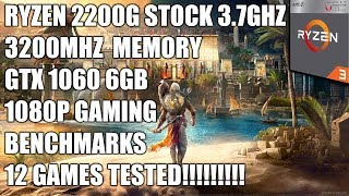 Ryzen 2200G + GTX 1060 6GB - 1080p Gaming Benchmarks  - 12 Games Tested
