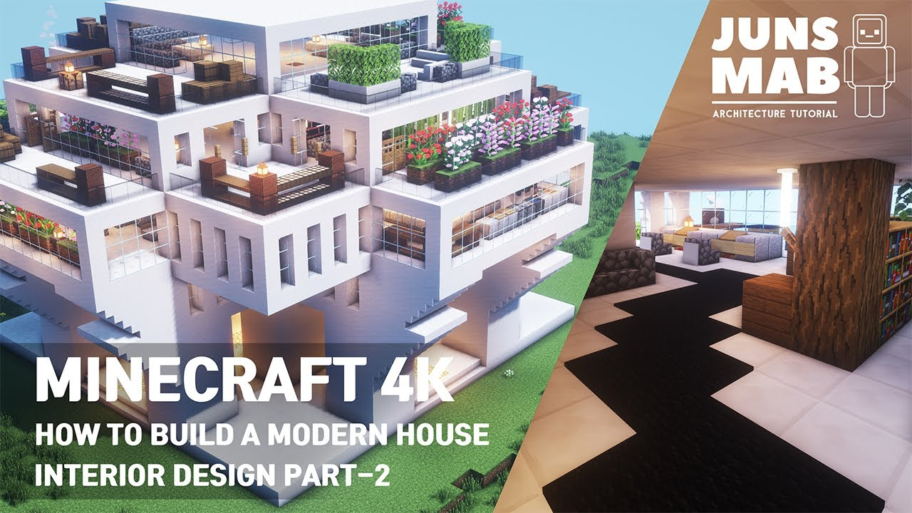 Minecraft tutorial ::A real architect's building Interior Design Part -2 / Modern house #112