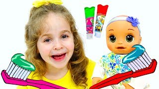 Have fun brushing our teeth and washing ourselves! | Song Nursery Rhymes for kids!