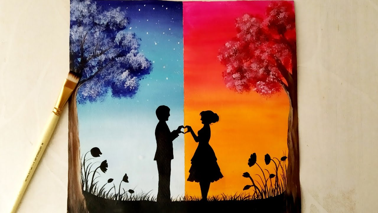 Easy Acrylic Painting For Beginners A Romantic Couple On