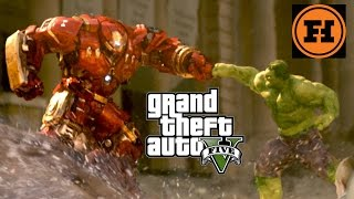 Mod Gameplay - HULK vs IRON MAN in GTA 5!