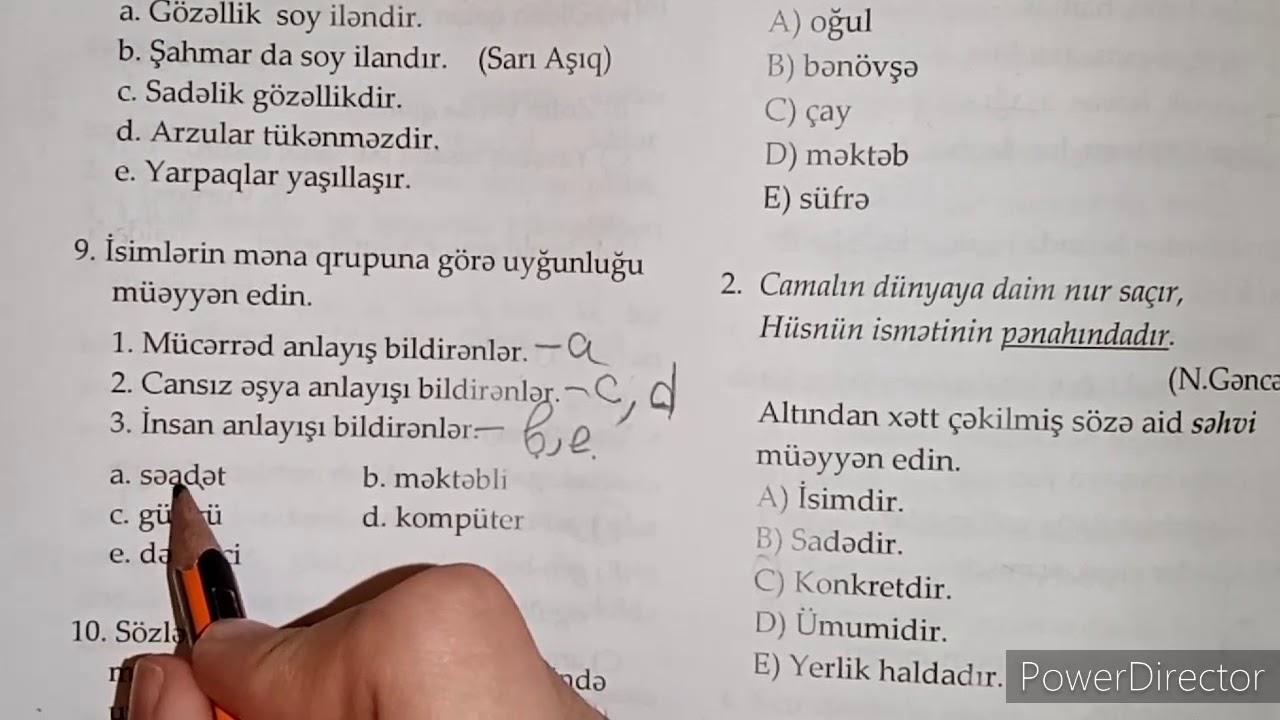 Azərbaycan dili 5-ci sinif DİM-in A və B variantı izahı(səh207, 208,209)