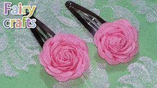 """Как сделать цветок розу из ленты """"Зиг-Заг"""" + заколки для волос своими руками за 5 минут"""