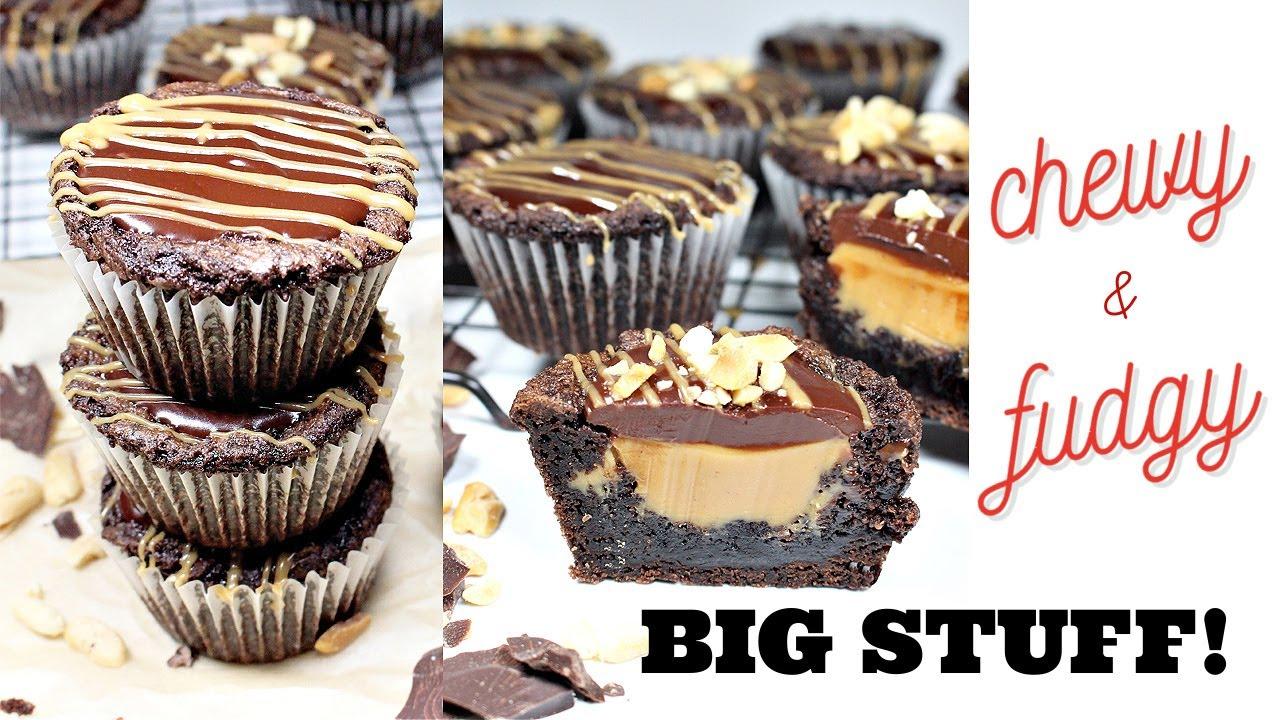 Peanut Butter Fudge Stuffed Brownie Cupcakes!