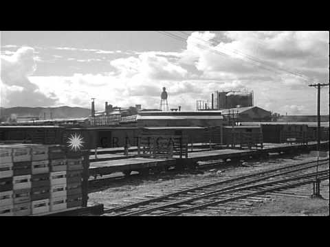 Railroad flat cars loaded with material and supplies in Honolulu, Hawaii, early i...HD Stock Footage