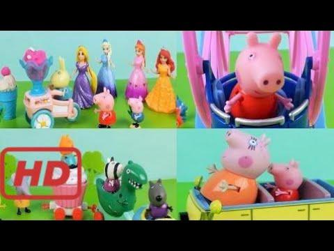 Peppa Pig Toy Theme Park with Disney Princesses Shopkins Moshi Monsters