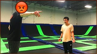 alone at a trampoline park we got banned the staff was really mad