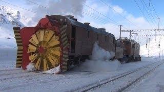 Snow Plowing-trainfart original-Dampfschneeschleuder Xrot d 9213 und Bernina Krokodil - Zug, train