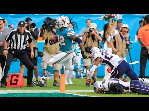 Miami Dolphins running back Kenyan Drake (32) talks about the last-ditch hook-and-ladder play