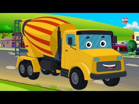 truk mixer semen untuk anak-anak | pembentukan dan penggunaan | Cement Mixer | Educational Vehicles