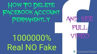 ***How To Delete Facebook Account Permanently**For Android**10000000% Real NO Fake**Watch Full video