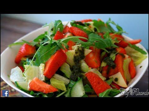 Strawberry Salad With Mint Sauce Sweet Jam Lettuce Tomato Honey   Recipes By Chef Ricardo
