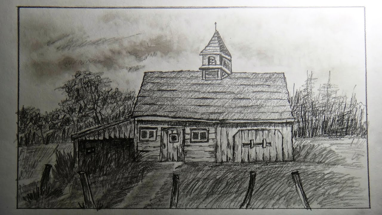 How to draw an old barn (old farm house)